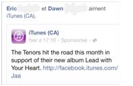 Fausse publicité de iTunes par Facebook