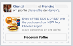Fausse publicité de Harveys par Facebook