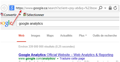Adresse sécurisée de recherche Google