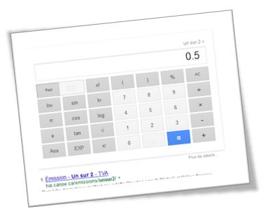 Calculatrice et convertisseur unité Google