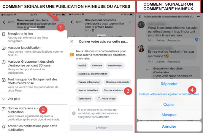 Comment signaler des publications ou commentaires haineux