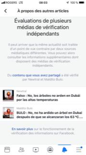avertissement fausse nouvelle Facebook